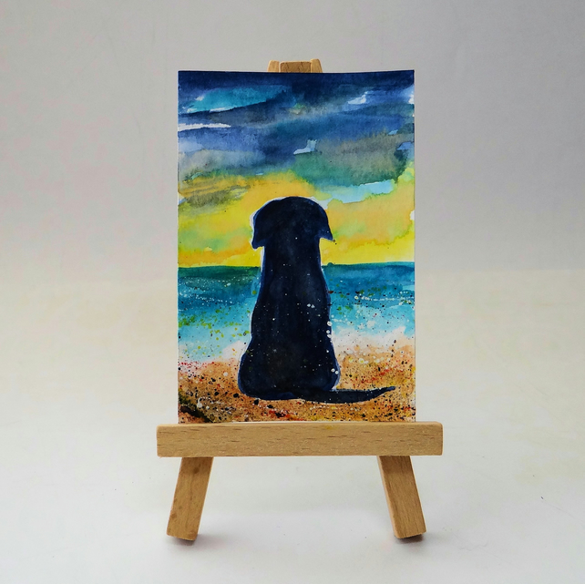 Labrador retriever dog at the beach ORIGINAL ACEO