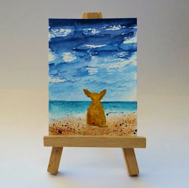 Chihuahua at the beach painting