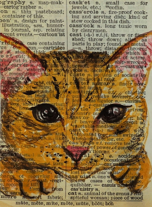 Cat Word Art Dictionary Painting