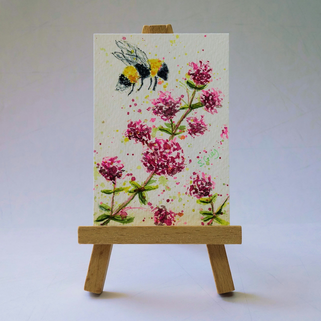 Bee in the herb garden ACEO