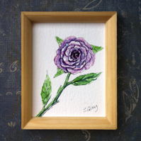 Purple Rose Framed Miniature Dollhouse Painting