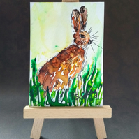 Hare ACEO miniature painting