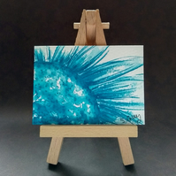 Soft blue daisy painting miniature ACEO