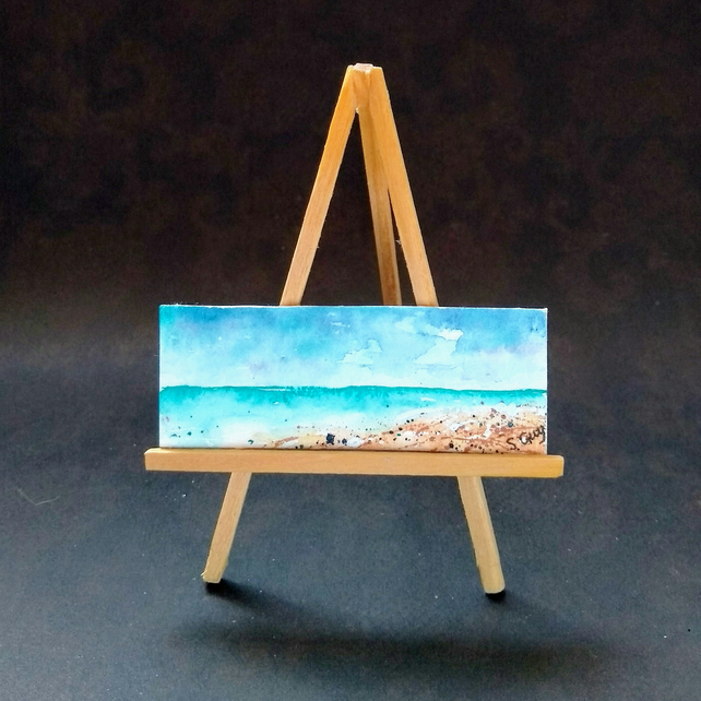 Seascape seaside Panoramic Mini ORIGINAL Painting Dolls House  FREE UK POST