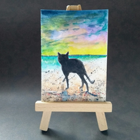 Cat at the beach aceo picture miniature painting FREE UK POST