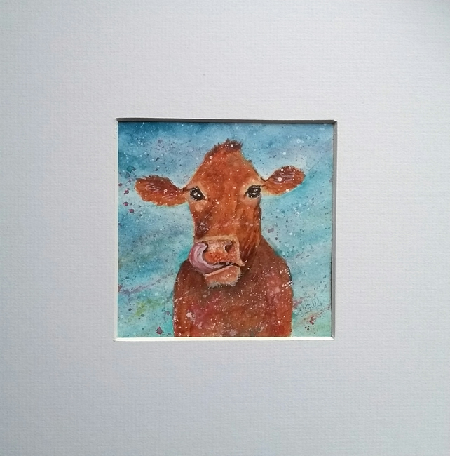 Cow painting in a mount to fit 10 inch square frame