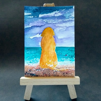 Golden retriever dog at the beach aceo picture miniature painting FREE UK POST