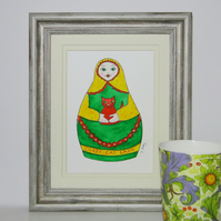 Crazy Cat Lady Russian Doll Painting mounted ready for framing