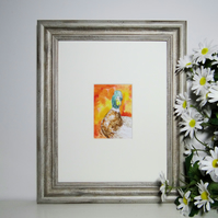 Duck painting in a mount ready for your own standard frame