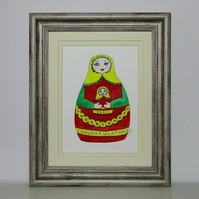 Congratulations New Baby Russian Doll mounted ready for framing