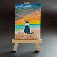 Black and white cat at the beach aceo picture miniature painting