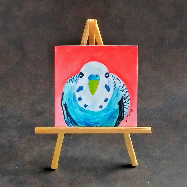 Budgie ORIGINAL Doll house size miniature painting