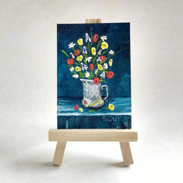 Summer flowers featuring poppies, original miniature painting ACEO FREE UK POST
