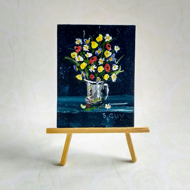 Flower bouquet ORIGINAL Doll house size miniature painting FREE UK POST