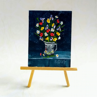 Miniature Painting Summer flowers in a metal jug ORIGINAL with  FREE UK POST