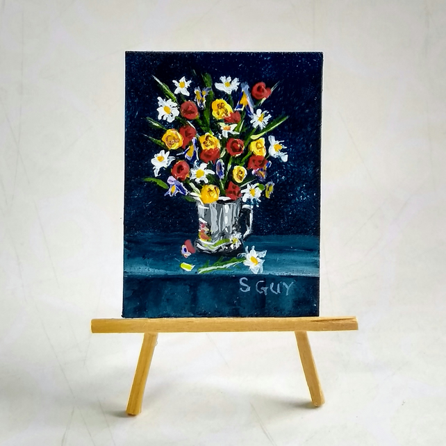 Miniature Painting Summer flowers metal jug ORIGINAL tiny size