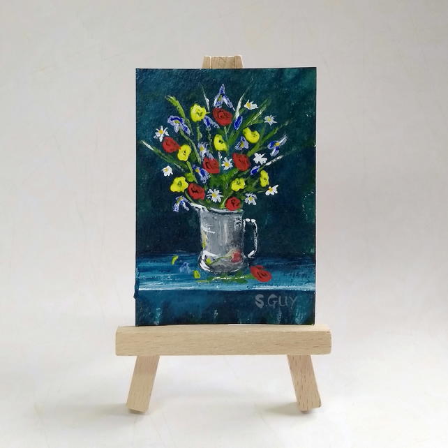 Summer bouquet featuring roses, an original miniature painting ACEO FREE UK POST