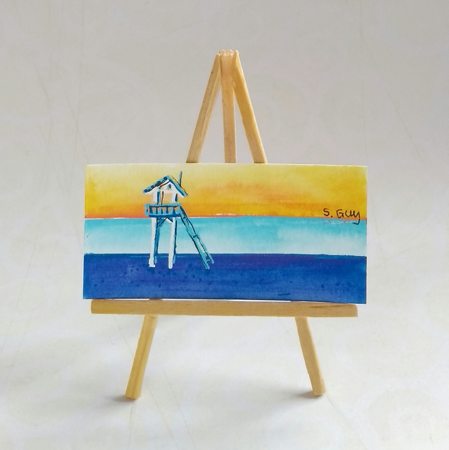 Dolls house beach scene painting FREE UK POST
