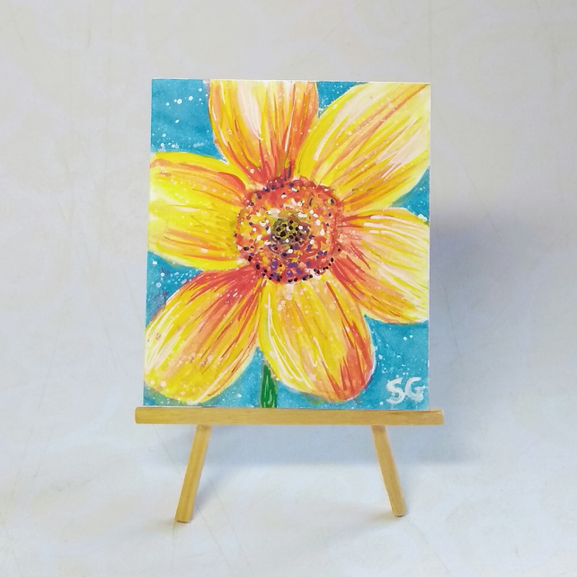 Miniature dollhouse flower painting