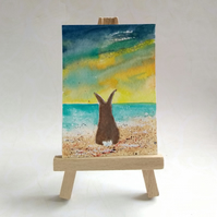 Bunny at the beach aceo picture miniature rabbit painting FREE UK POST
