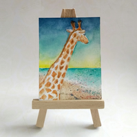 Giraffe at the Beach