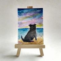 Schnauzer dog at the beach aceo picture miniature painting FREE UK POST