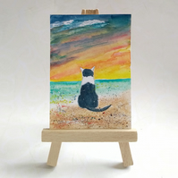 Black and white cat at the beach aceo picture miniature painting FREE UK POST