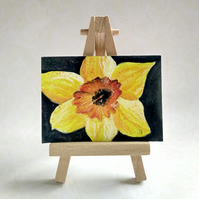 Daffodil ACEO miniature painting FREE UK POST