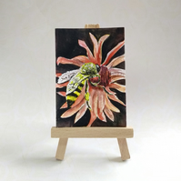 Bee on a daisy ACEO miniature painting FREE UK POST