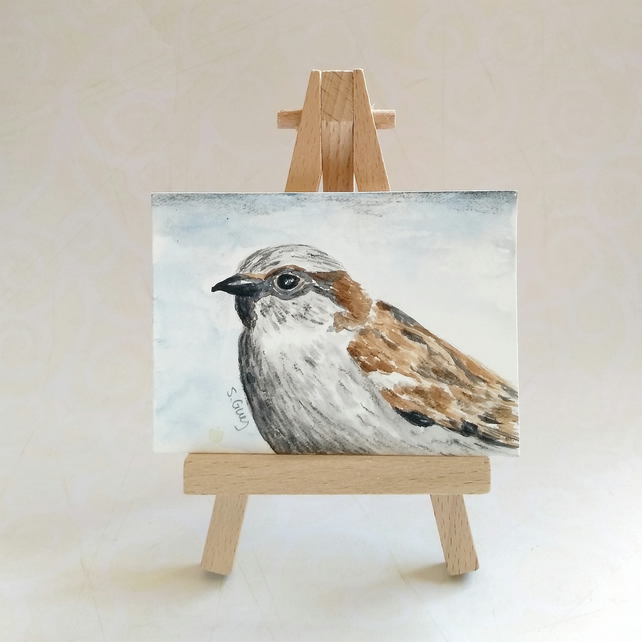 Sparrow ACEO miniature painting FREE UK POST