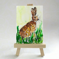 Hare ACEO miniature painting FREE UK POST
