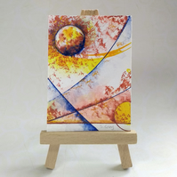 Colourful abstract ACEO, an original miniature painting