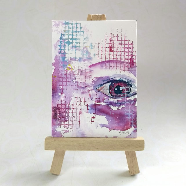 Colourful abstract ACEO, an original miniature painting FREE UK POST