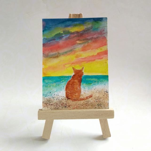 Tabby Cat at the Beach Ginger Cat FREE UK POST