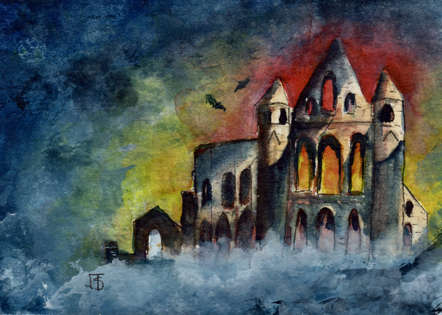Halloween Whitby Abbey miniature painting