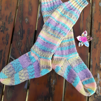 Socks - Hand Knitted - Fairisle Effect - Unisex