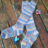 Socks - Hand Knitted - Fairisle Effect - HandMade Socks