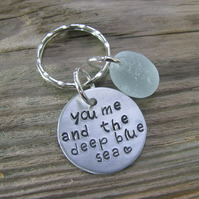 Sea glass and aluminium, stamped keyring (2)