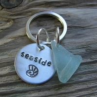 Sea glass and aluminium, stamped keyring