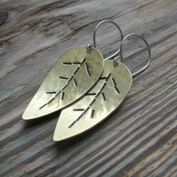 Textured Brass leaf drop earrings
