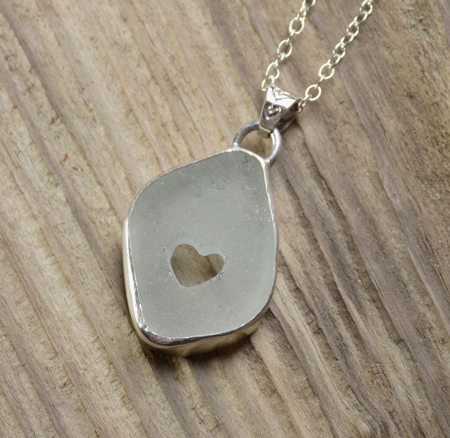 Bezel set sterling silver and seaglass heart pendant