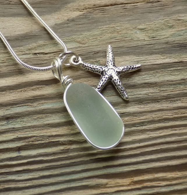 Natural sea glass bubble pendant