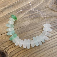 20 Natural sea glass beads, middle drilled, chunkies ,supplies (85)