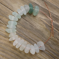 19 Natural sea glass beads,middle drilled, chunkies ,supplies (86)