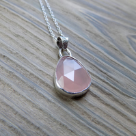 Sterling silver and pink chalcedony, bezel set pendant