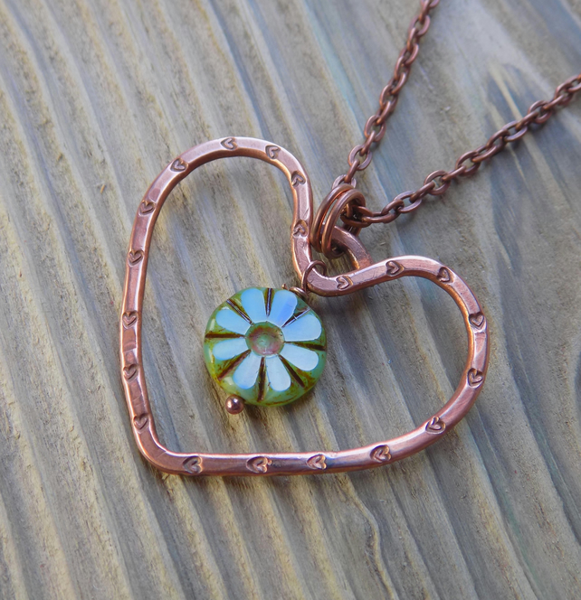 Copper rustic heart pendant