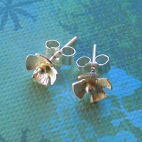 Sterling silver rustic flower post ,stud earrings