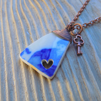 Thames victorian pottery shard heart pendant, wrapped with copper wire