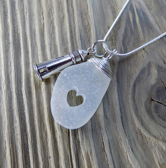 Natural sea glass drilled heart ,wrapped wire pendant