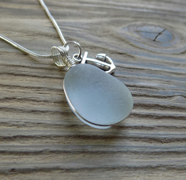 Natural sea glass bubble pendant with anchor charm